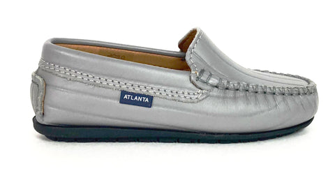 Atlanta Mocassin Stone Gray Textured Leather Loafer-Tassel Children Shoes