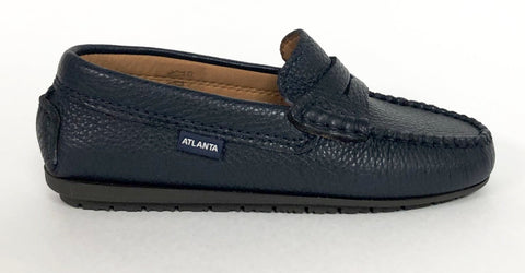 Atlanta Mocassin Navy Pebbled Penny Loafer-Tassel Children Shoes