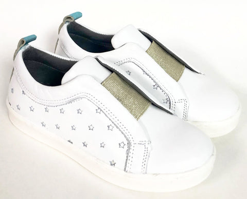 Blublonc White and Gold Star Sneaker-Tassel Children Shoes