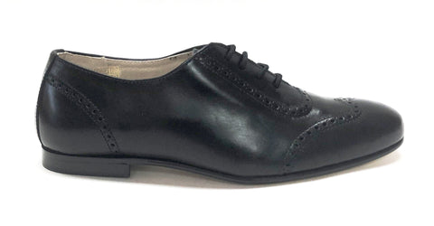 Hoo Black Leather Oxford-Tassel Children Shoes