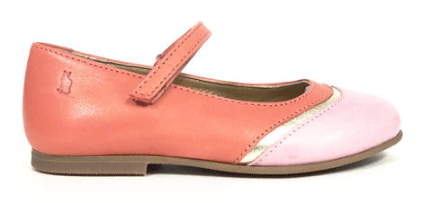Lindo Coral and Pink Wing Tip Mary Jane-Tassel Children Shoes