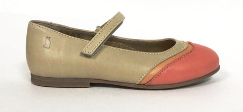 Lindo Taupe and Coral Wing-Tip Mary Jane-Tassel Children Shoes