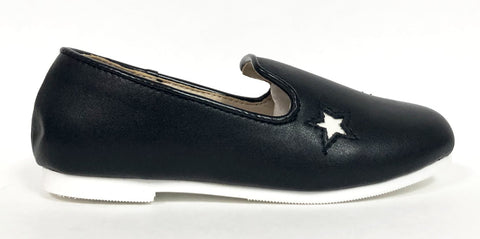 Zeebra Black and White Star Loafer-Tassel Children Shoes