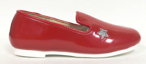 Zeebra Red and Silver Star Loafer-Tassel Children Shoes
