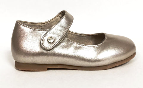 Zeebra Champagne Metallic Mary Jane-Tassel Children Shoes
