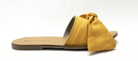 You and Me Yellow Bow Slide-Tassel Children Shoes