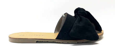 You and Me Black Bow Slide-Tassel Children Shoes