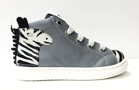 MAA White/Zebra High Top Sneaker-Tassel Children Shoes