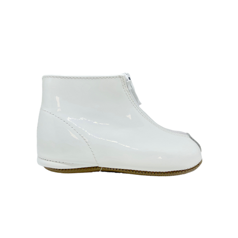 Pepe White Patent Zipper Bootie-Tassel Children Shoes