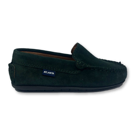 Atlanta Mocassin Dark Green Suede Loafer-Tassel Children Shoes