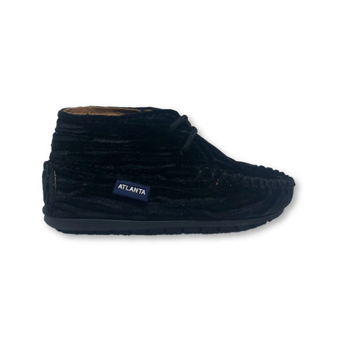 Atlanta Mocassin Black Velvet Lined Bootie-Tassel Children Shoes