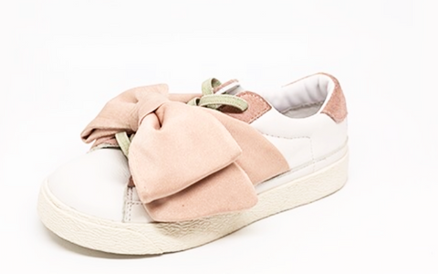 DouUod Pink/White Bow Sneaker-Tassel Children Shoes
