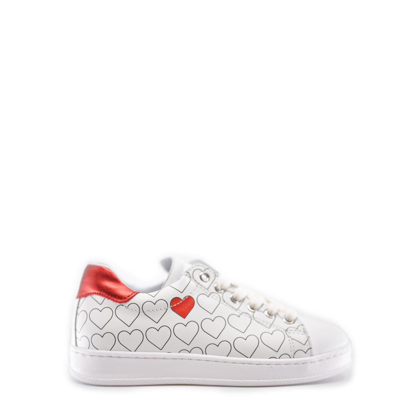 Atlanta Mocassin White and Red Heart Zipper Sneaker-Tassel Children Shoes