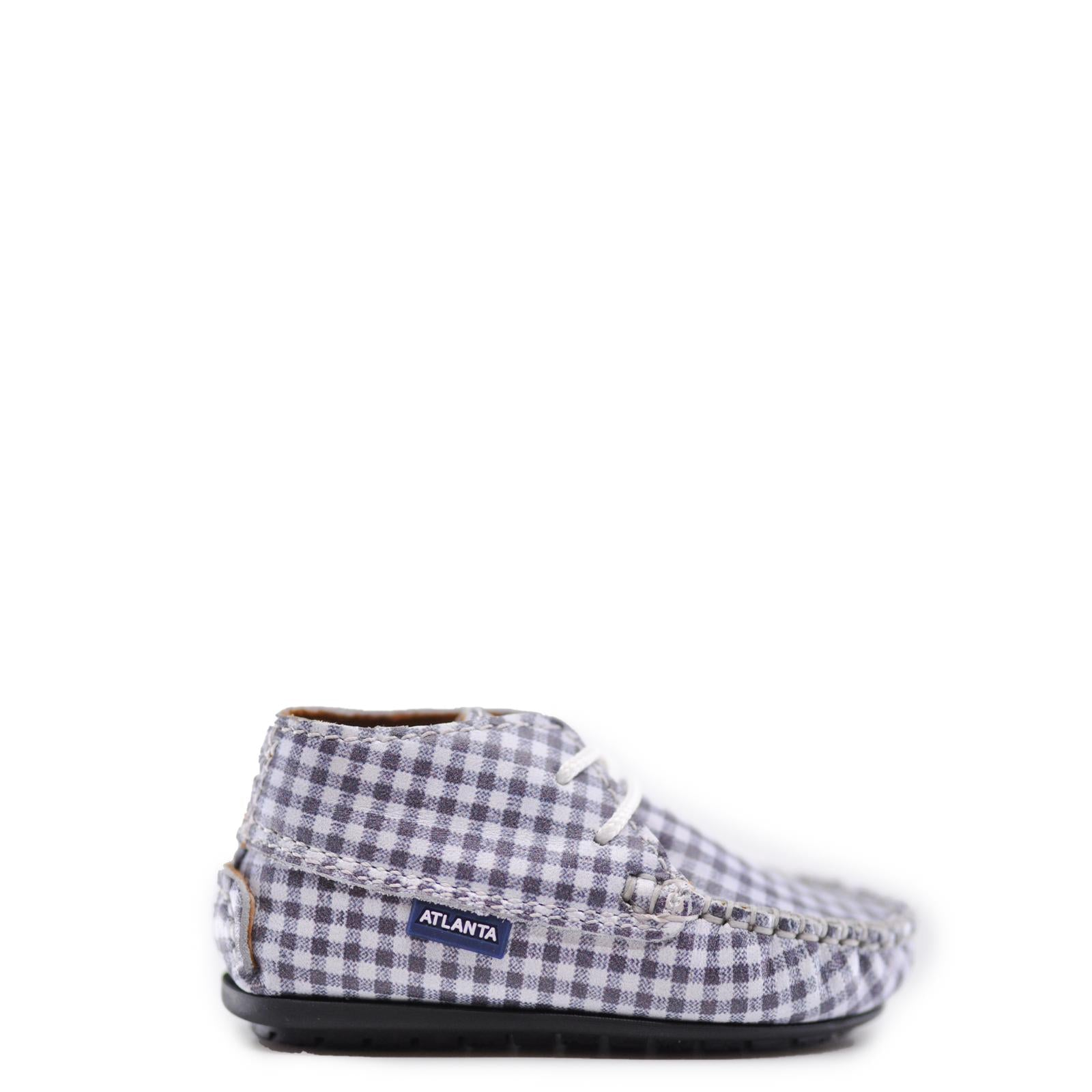 Atlanta Mocassin Gray Gingham Baby Bootie-Tassel Children Shoes