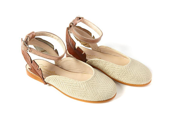 Sonatina Taupe Woven Leaf Flat-Tassel Children Shoes