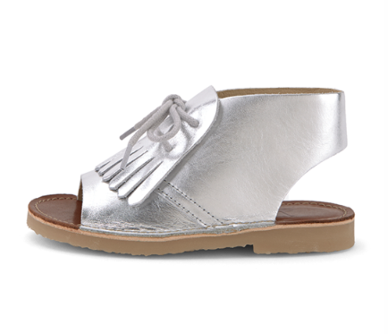 Young Soles Silver Leather Bootie Sandal-Tassel Children Shoes