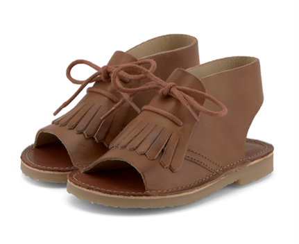 Young Soles Tan Leather Fringe Bootie Sandal-Tassel Children Shoes