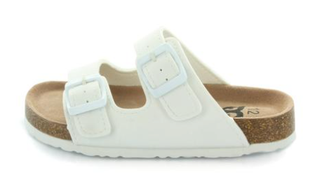Hoo White Double Strap Slide Sandal-Tassel Children Shoes