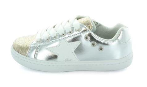 Hoo Silver Star and Gold Glitter Sneaker-Tassel Children Shoes