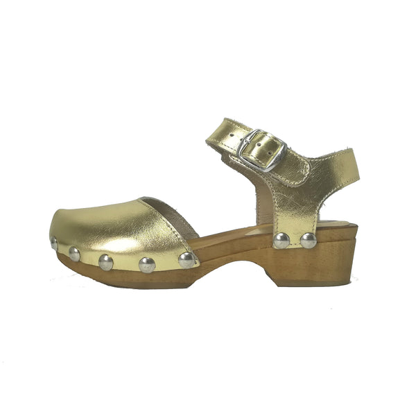 LMDI Collection Gold Leather Clog-Tassel Children Shoes