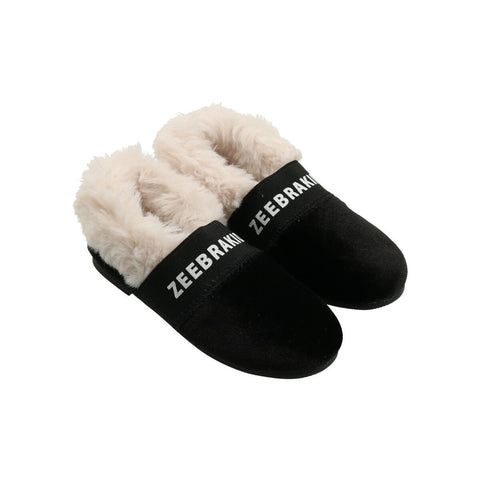Zeebra Ebony Black Zeebrakids Fur Slipper-Tassel Children Shoes