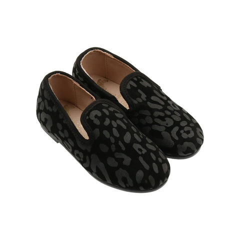 Zeebra Granite Black Suede Pebble Loafer-Tassel Children Shoes