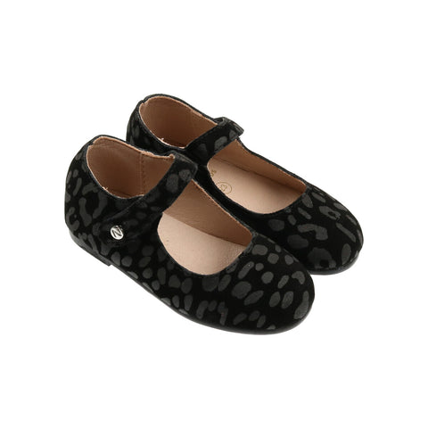 Zeebra Granite Black Suede Pebble Mary Jane-Tassel Children Shoes