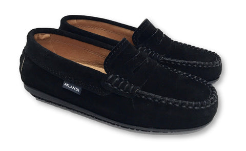 Atlanta Mocassin Black Suede Penny Loafer-Tassel Children Shoes