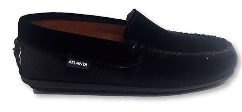 Atlanta Mocassin Black Velvet Loafer-Tassel Children Shoes