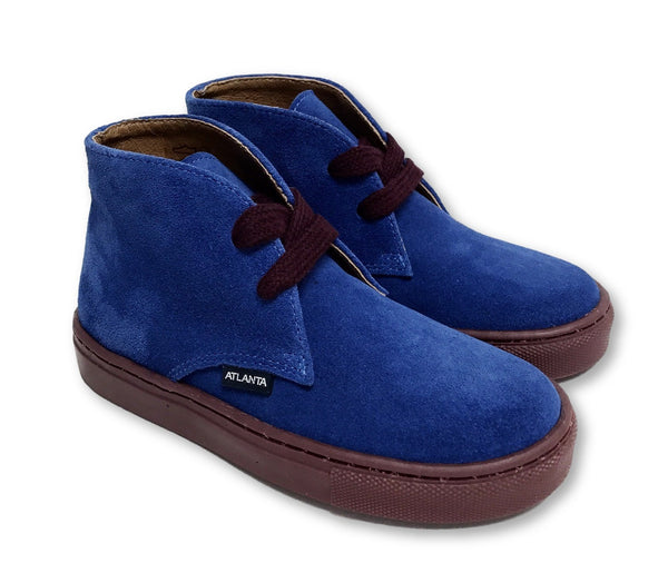 Atlanta Mocassin Blue/Burgundy Suede Lace Bootie-Tassel Children Shoes