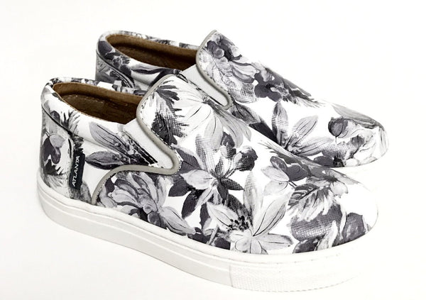 Atlanta Mocassin Gray Floral Slip-on Sneaker-Tassel Children Shoes