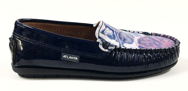 Atlanta Mocassin Navy Patent with Floral Top Loafer-Tassel Children Shoes