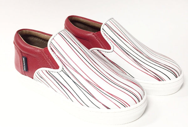 Atlanta Mocassin Red Stripe Slip-on Sneaker-Tassel Children Shoes