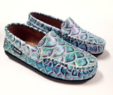 Atlanta Mocassin Turquoise Pebbled Loafer-Tassel Children Shoes