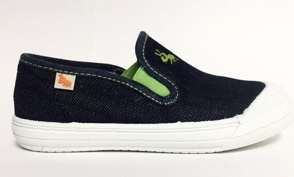 Avance Denim and Green Slip-on Sneaker-Tassel Children Shoes