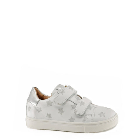 Acebos White and Silver Star Velcro Sneaker-Tassel Children Shoes