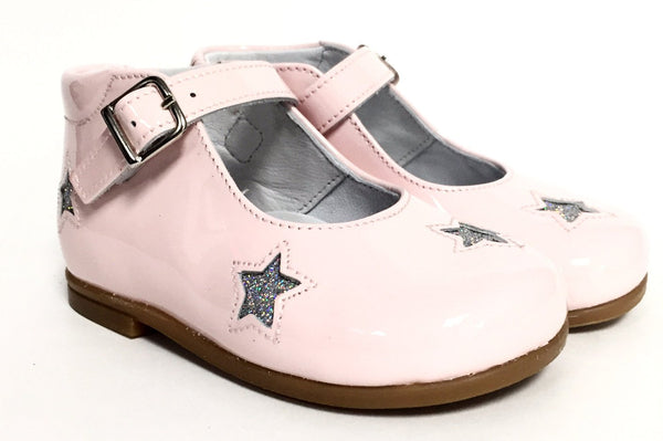 Beberlis Pink and Silver Star High-top Mary Jane-Tassel Children Shoes