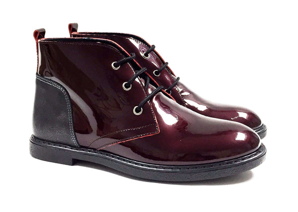 Blublonc Burgundy And Gunmetal Patent Bootie-Tassel Children Shoes