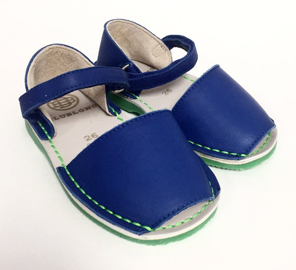 BluBlonc Royal Blue and Green Sandal-Tassel Children Shoes