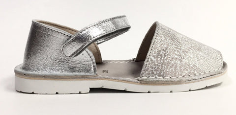 BluBlonc Silver Crackle Sandal-Tassel Children Shoes