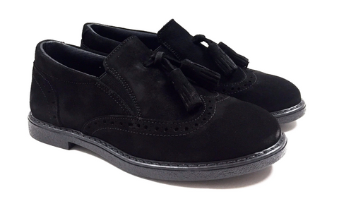 Blublonc Black Suede Tassel Slip-on-Tassel Children Shoes
