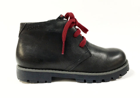 Campers Black Leather Boot with Red Lace-Tassel Children Shoes