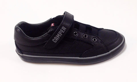 Campers Black Leather Velcro Sneaker-Tassel Children Shoes