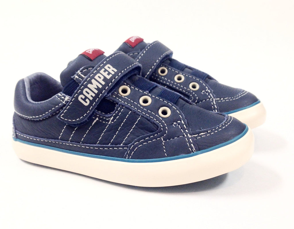 4ca30b7bd030 ... Campers Blue and White Velcro Sneaker-Tassel Children Shoes