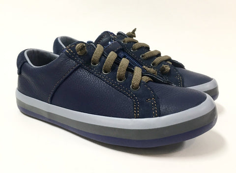 Campers Blue Sneaker with Tan Elastic-Tassel Children Shoes
