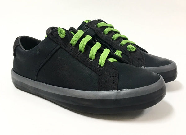 Campers Charcoal Sneaker with Green Elastic-Tassel Children Shoes
