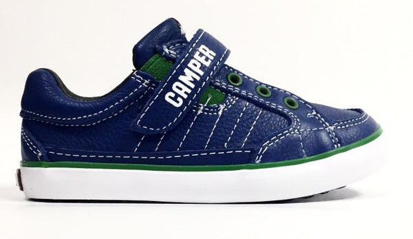 Campers Cobalt and Green Velcro Sneaker-Tassel Children Shoes