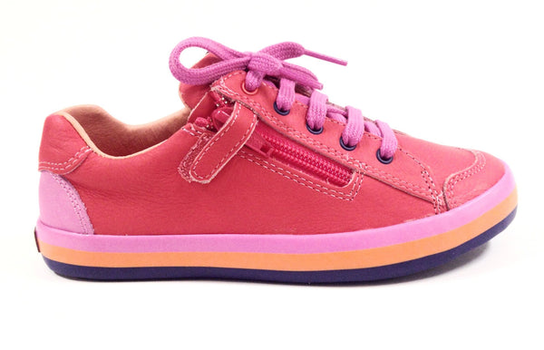 Campers Coral Lace Sneaker with Side Zipper-Tassel Children Shoes