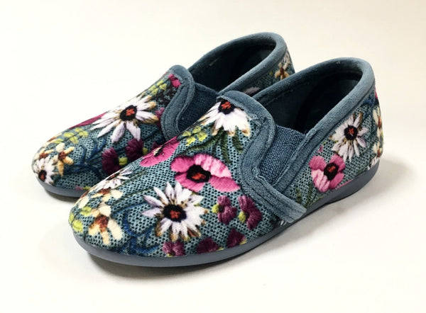Cienta Washed Denim Velour Slipper-Tassel Children Shoes