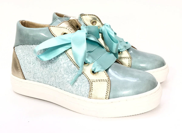 Clarys Aqua and Gold Glitter High-top Sneaker-Tassel Children Shoes